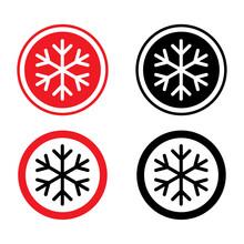 Set Of Snow Winter Icon, Danger Ice Flake Sign, Risk Alert Vector Illustration, Careful Caution Symbol