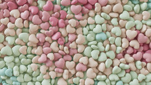 Multicolored Heart Background. Valentine Wallpaper With Pink, Green And Aqua Love Hearts. 3D Render