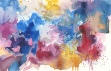 Art Abstract Watercolor Smear Flow Blot Painting. Color Long Horizontal Texture Background.