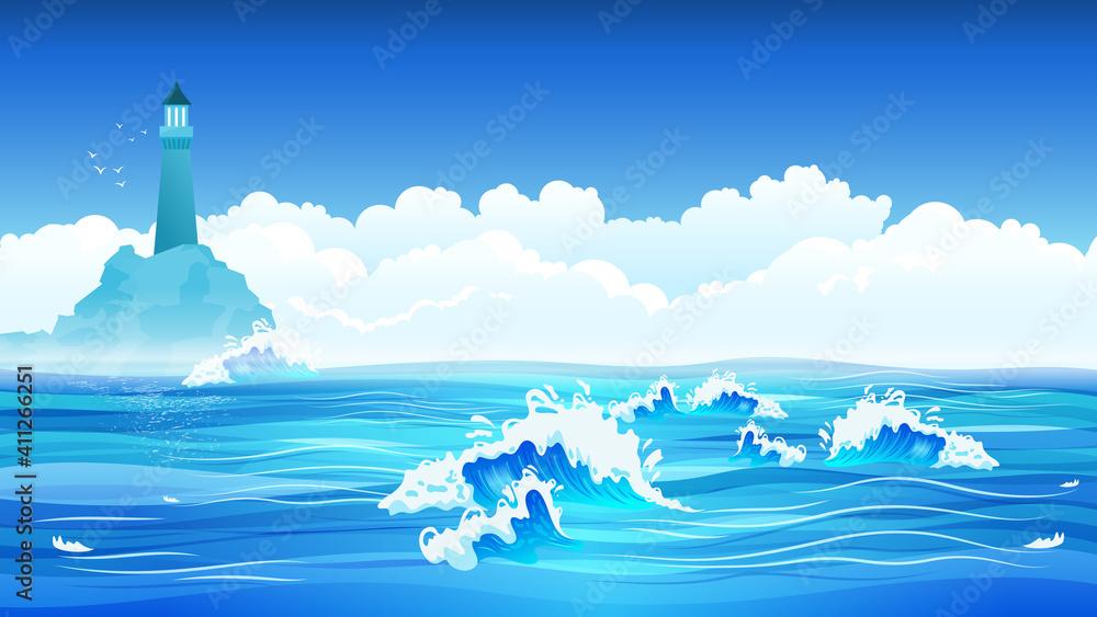 Fototapeta Sea Flat Background