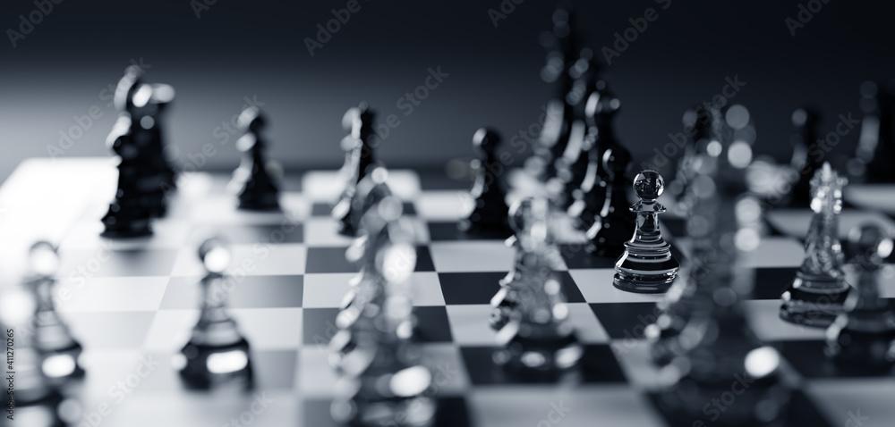 Fototapeta Chess game. Strategic desicion making. Plan and competition