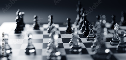 Obraz Chess game. Strategic desicion making. Plan and competition - fototapety do salonu