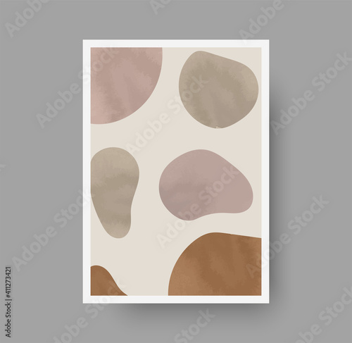 Fototapeta Abstract background design with pastel watercolor abstract shapes. Acrylic background for social media or print. Boho poster for luxury minimal interior. Neutral background concept for business vector obraz na płótnie