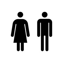 Man And Woman Icon. Vector Toilet Symbol. Male And Female Sign For Restroom. Girl And Boy WC Pictogram For Bathroom