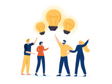 Sharing Business Ideas, Collaboration Meeting, Sharing Knowledge, Teamwork Or People Thinking The Same Idea Concept.