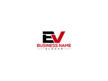 EV E&V Letter Type Logo Image, EV Logo Letter Design