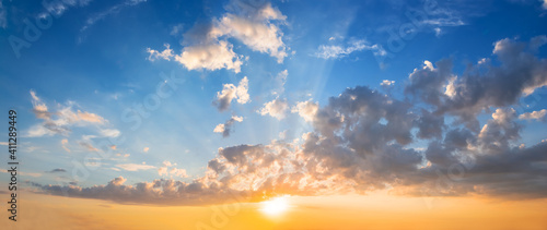 coludy sky at the sunset, dramatic evening sky background