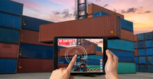 Engineer Use Augmented Reality Software In Cargo Container Yard With Automated Application . Futuristic Machinery In Working In Concept Of Industry 4.0 Or 4th Industrial Revolution.
