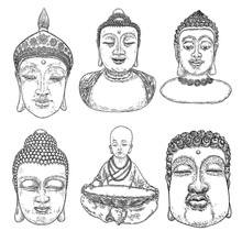 Buddha Meditation Set And Buddha Portraits. Drawings For Vesak Purnima Day, Traditional Buddhists Holiday For Hindus. The Festival Of Birth, Enlightenment, And Death Of Buddha. Vector.