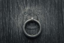 Ancient Door Knob On Old Wood Door