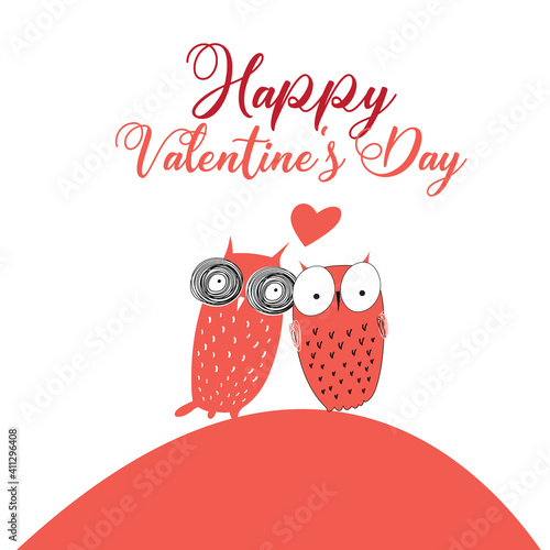 Vector greeting card with lovers owls on a Valentine's Day © tanor27