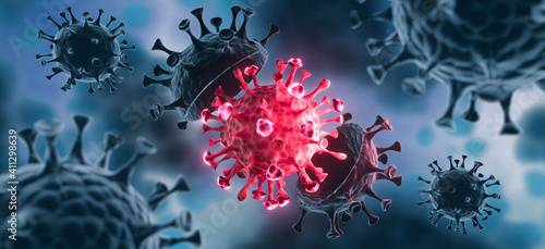 Obraz na płótnie Coronavirus with Mutation - 3D visualizatio