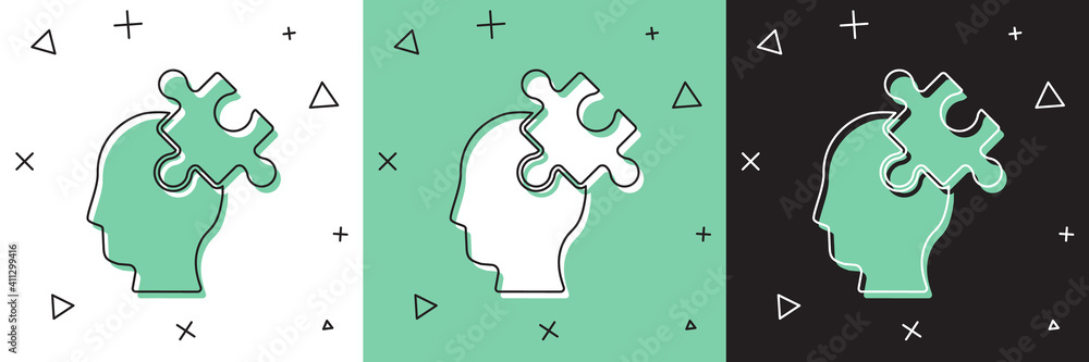 Fototapeta Set Solution to the problem in psychology icon isolated on white and green, black background. Puzzle. Therapy for mental health. Vector.