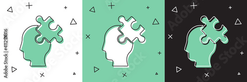 Tableau sur Toile Set Solution to the problem in psychology icon isolated on white and green, black background