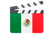 Movie clapperboard with Mexican flag, film industry concept. 3D rendering