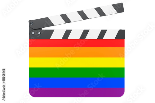 Foto Movie clapperboard with LGBT flag, 3D rendering