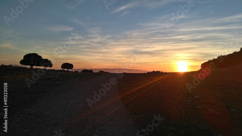Fototapety, obrazy: Scenic View Of Silhouette Field Against Sky At Sunset