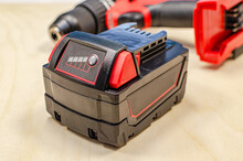 Electric Drill Or Cordless Screwdriver With Battery, Recharge Battery.