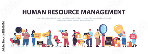 set mix race hr managers holding we are hiring join us posters vacancy open recruitment human resources concept horizontal full length copy space vector illustration