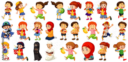 Children doing different activities cartoon character set on white background #411367005