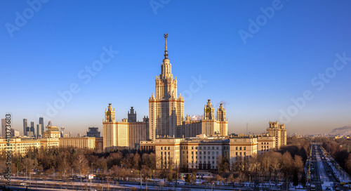 Vászonkép Front Aerial View Of Morning Autumn Campus Of Moscow University With Long Shadow