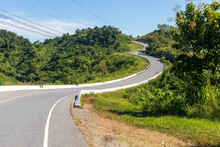 Road No.3 Or Three Or Sky Road Over Top Of The Mountains With Green Forest In Nan Province, Thailand, Asia.