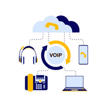 The Concept Of The Scheme Of The Device Of The VOI Telephony System, Includes A Server, Cloud Storage, Laptop Or Computer, Telephone, Headphones For The Operator Who Receives Calls. Flat Vector