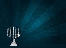 Digitally Generated Image Of Menorah Against Patterned Background