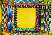 Yellow Frame Made Of Woven DIY Friendship Bracelets
