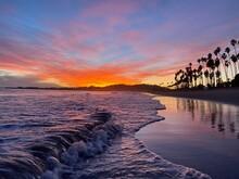 Sunset Over The Sea Santa Monica Beach