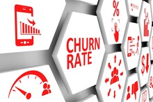 CHURN RATE Concept Cell Background 3d Illustration