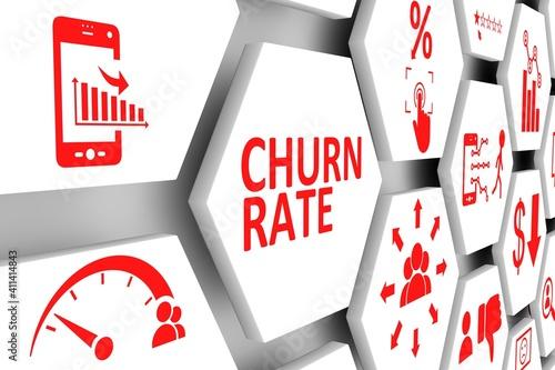 Fotografia CHURN RATE concept cell background 3d illustration