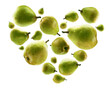 Ripe pears in the shape of a heart on a white background