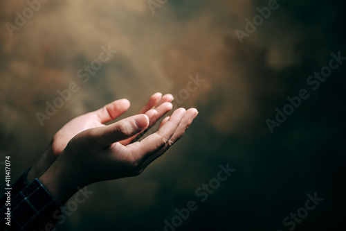 praying hands with faith in religion and belief in God on blessing background Fototapet