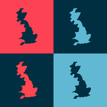 Pop Art England Map Icon Isolated On Color Background. Vector.