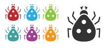 Black Ladybug Icon Isolated On White Background. Set Icons Colorful. Vector.