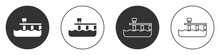 Black Beach Pier Dock Icon Isolated On White Background. Circle Button. Vector.