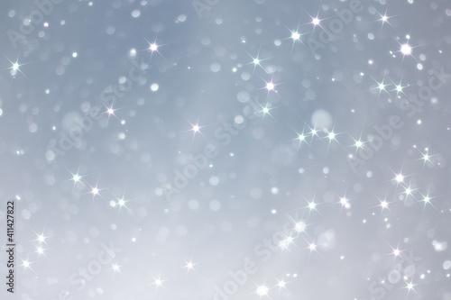 Billede på lærred blue snowfall bokeh background, abstract snowflake background on blurred abstrac