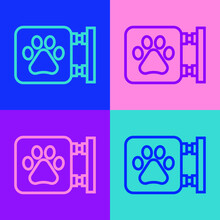 Pop Art Line Veterinary Clinic Symbol Icon Isolated On Color Background. Cross Hospital Sign. A Stylized Paw Print Dog Or Cat. Pet First Aid Sign. Vector.