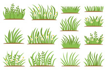 Green Grass Flat Icon Set. Isolated On White Background, Leaf Borders, Flower Elements, Nature Background Vector Illustration. Green Land Concept For Template Design