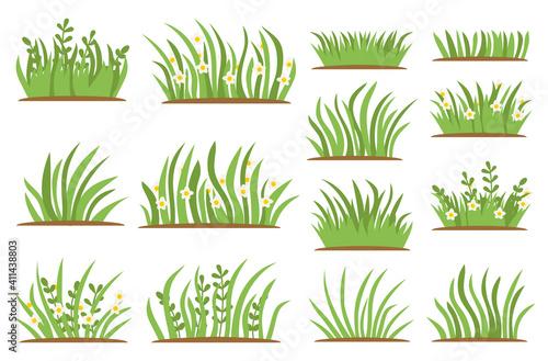 Fotografija Green Grass flat icon set