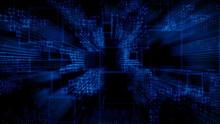 Futuristic, Blue Digital Grid Background. Network Tech Wallpaper. 3D Render