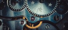 Vintage Watch Movement Close - Up. Selective Focus On Elements, Macro Photography. Background In Steampunk Style. Metallic Grunge Texture. Easy Image Tinting