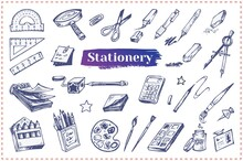 Stationery And School Accessories Hand Drawn Vector Icons. Doodle Illustrations Of Office Supplies And Tools