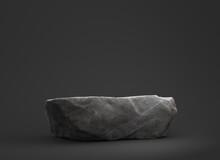 Stone Podium For Display Product On Dark Background.