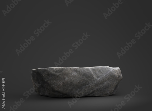 Fototapeta Stone podium for display product on dark background. obraz