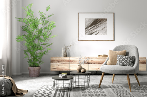Interior of living room with armchair and coffee tables 3d rendering