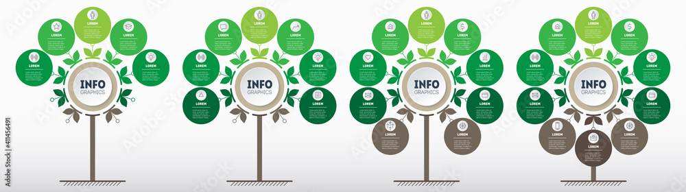 Fototapeta Green infographics in the form of a tree with 5, 7, 9 and 10 parts. Development and growth of the eco business. Timeline of trends. Business presentation concept with four parts, steps or processes.