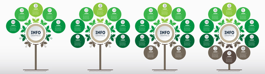 Green infographics in the form of a tree with 5, 7, 9 and 10 parts. Development and growth of the eco business. Timeline of trends. Business presentation concept with four parts, steps or processes.