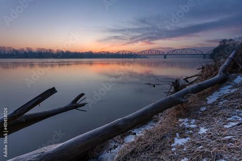 Steel Railway Bridge at Vistula River near Góra Kalwaria Poland - fototapety na wymiar